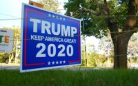 Trump 2020 sign electric fence